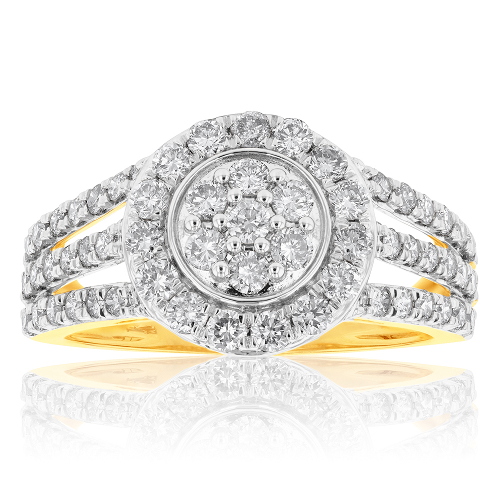9ct Yellow Gold 1 Carat Diamond Round Shape Cluster Ring