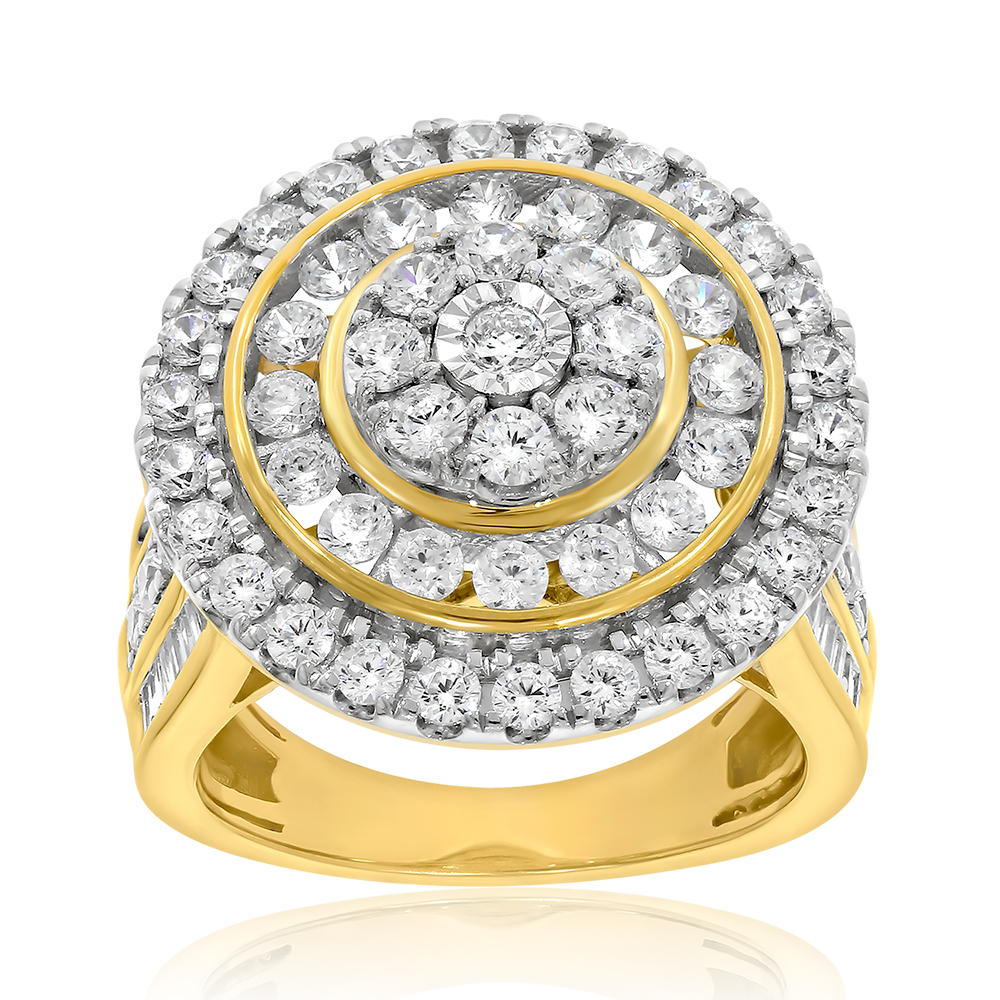 9ct Yellow Gold 3 Carat Diamond Ring with Brilliant and Tapered Baguette Diamonds