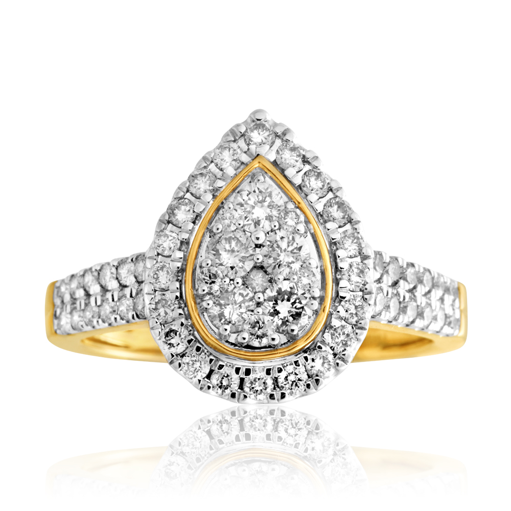 9ct Yellow Gold 1 Carat Diamond Pear Shape Cluster Ring