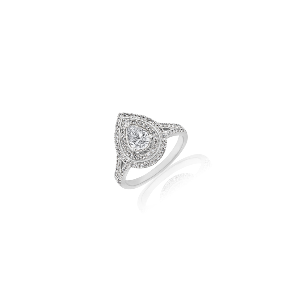18ct White Gold 1 Carat Diamond Ring with 0.60 Carat Pear Certfied Centre Diamond