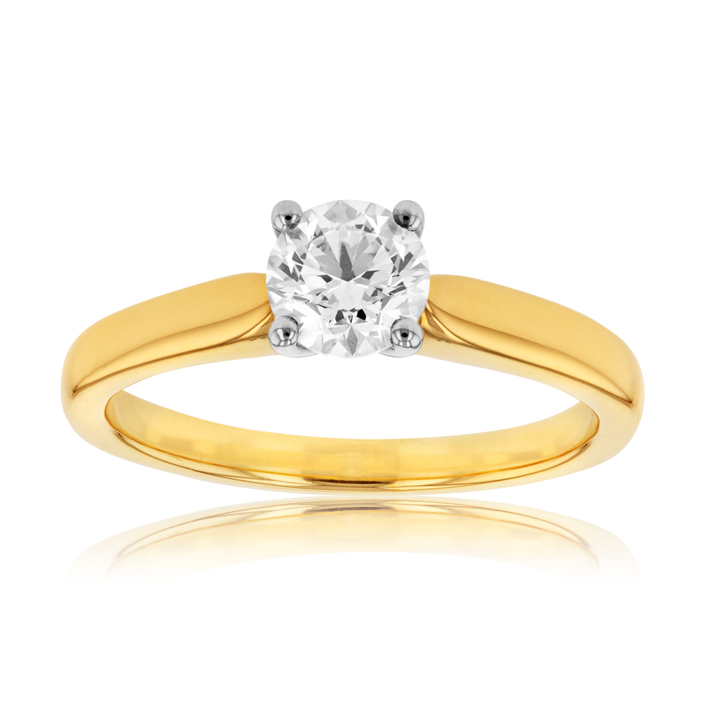 18ct Yellow Gold 0.70 Carat I SI GIA Certified Diamond 4 Claw Solitaire Ring
