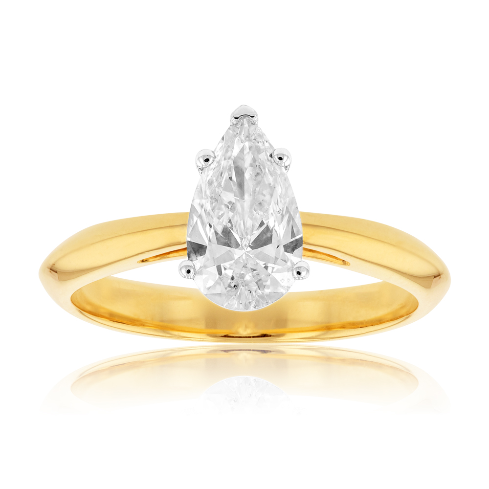 18ct Yellow Gold 1 Carat Pear IJ SI GIA CERTIFIED Diamond Solitaire Ring in 3 Claws