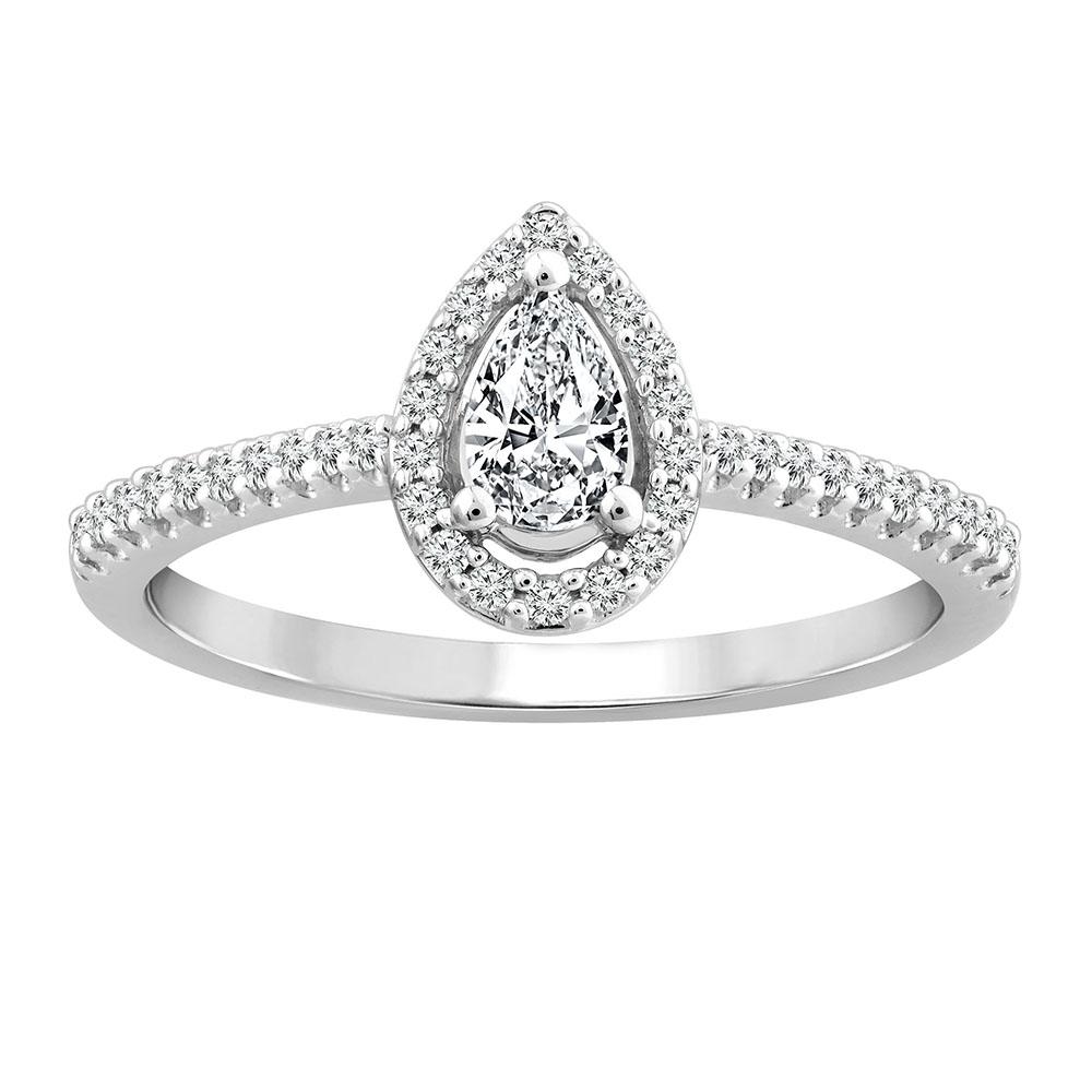 18ct White Gold 1/3 Carat  Diamond Halo Ring