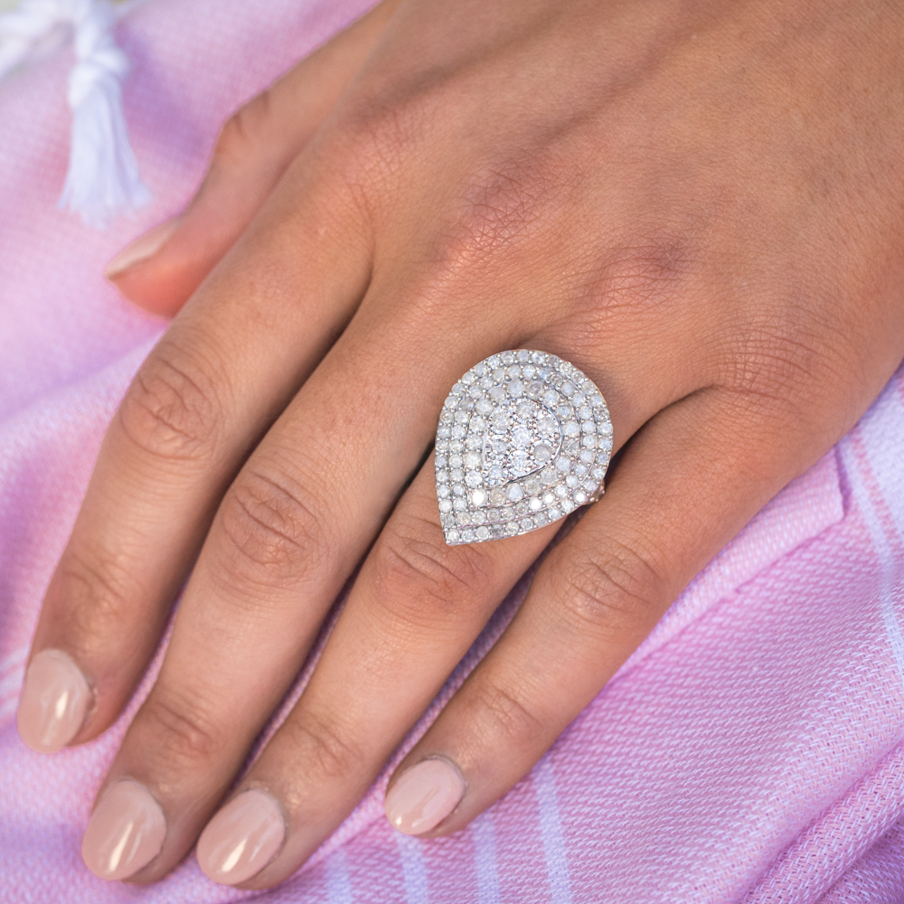 Sterling Silver and 9ct Yellow Gold 4 Carat Diamond Pear Shaped Cluster Ring