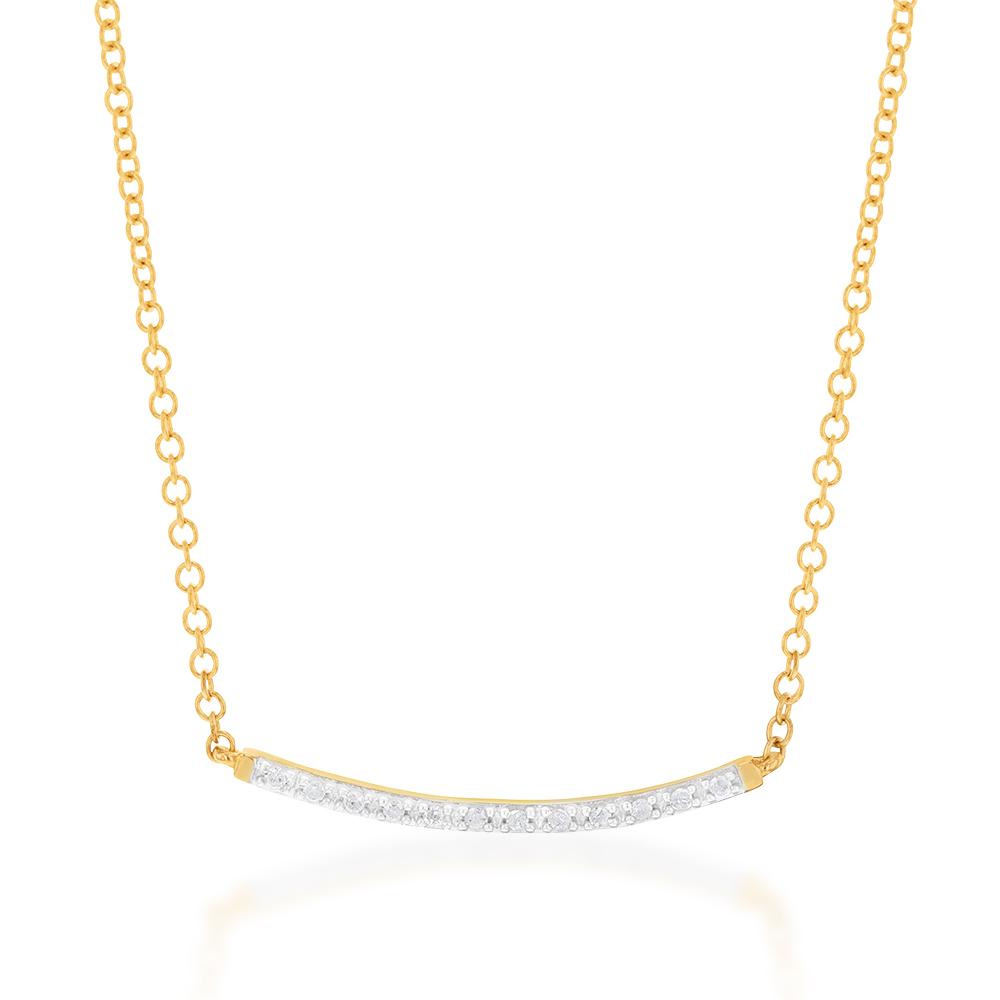 9ct Yellow Gold 42cm Chain with 12 Diamonds