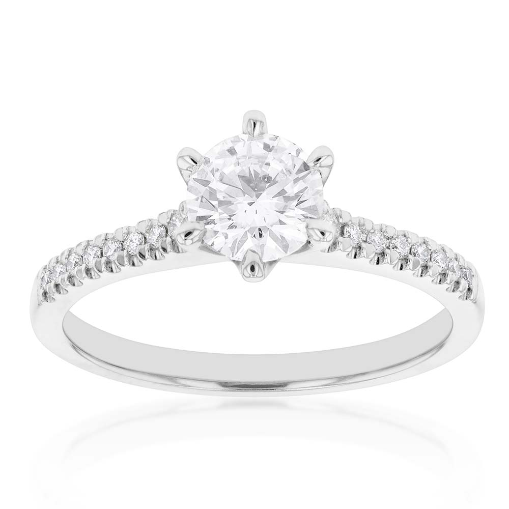 18ct White Gold 0.80 Carat Solitaire with 0.70 Carat Certified Centre Diamond