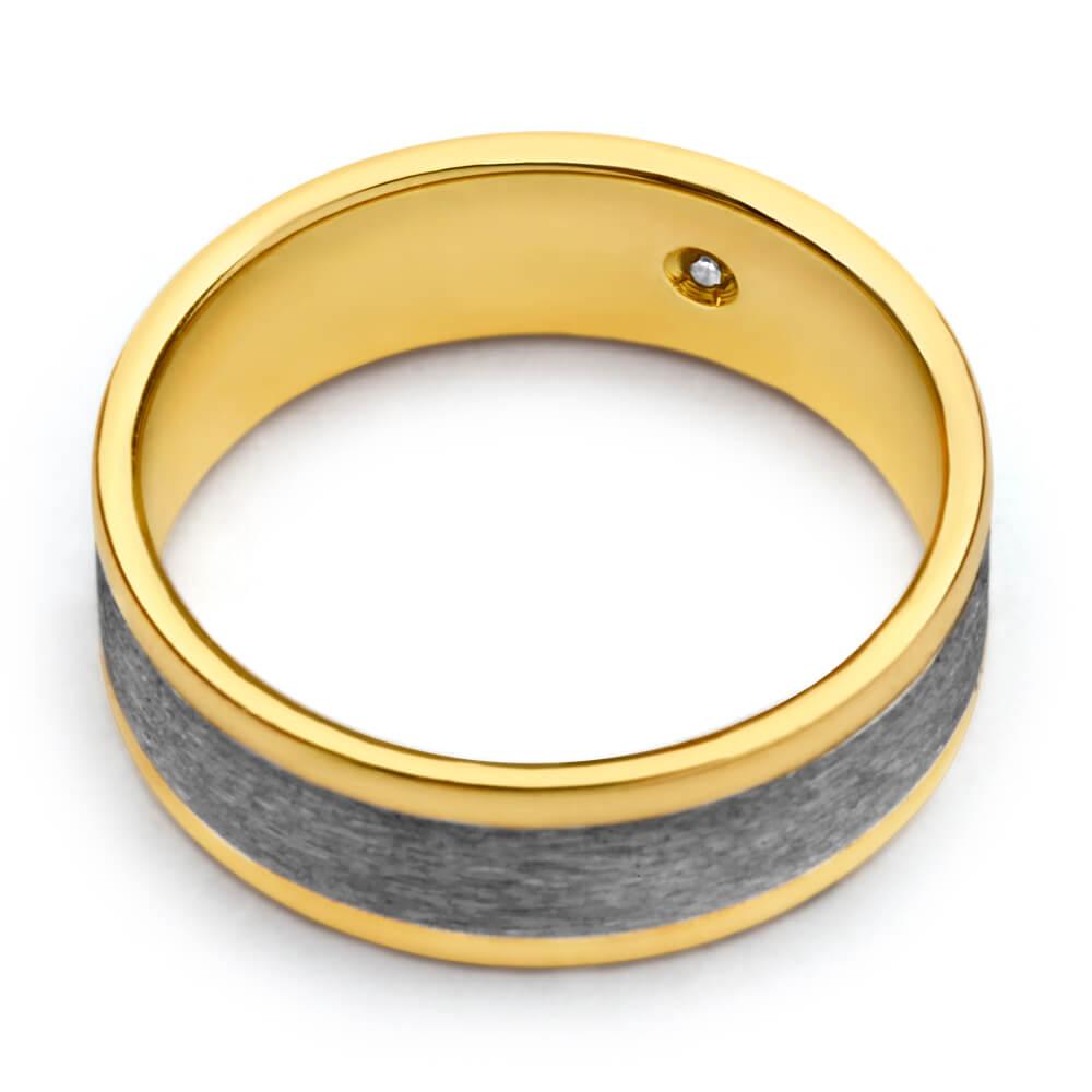 Flawless Cut 9ct Yellow Gold & Titanium 7mm Ring