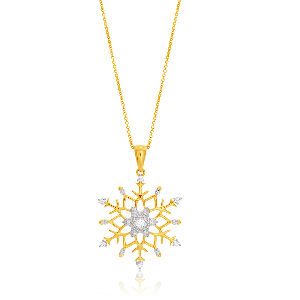 Flawless 10 Points 9ct Yellow Gold Pendant - Chain Included