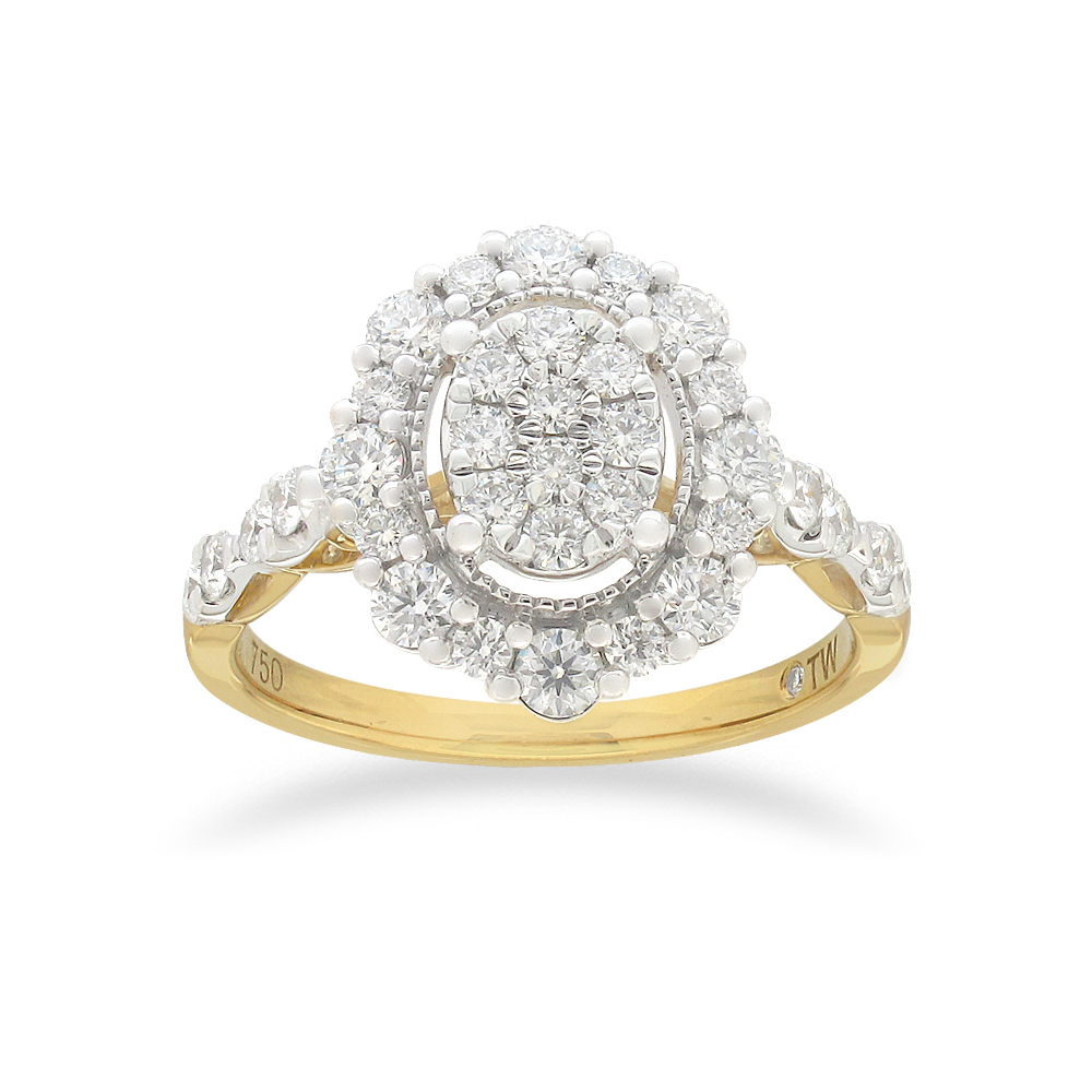 Flawless Oval Halo Ring with 0.80 Carat TW of Diamonds in 18ct Yellow and white Gold