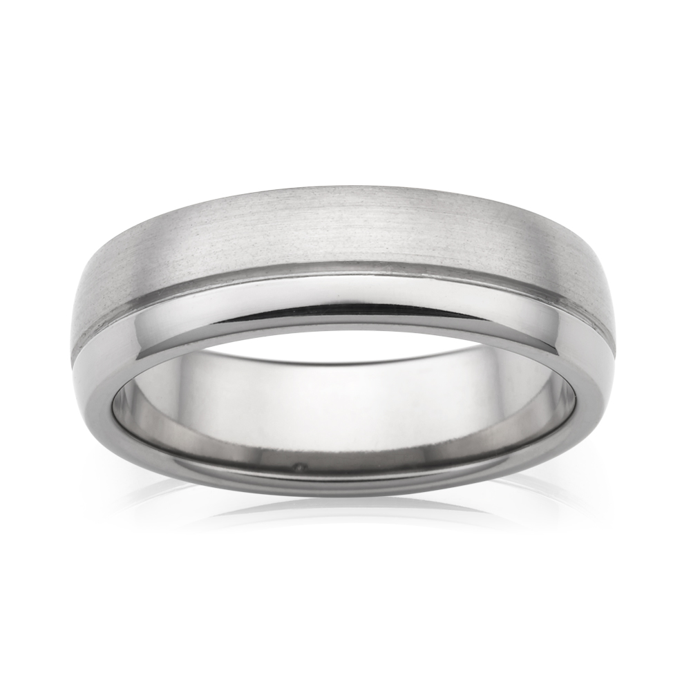 Flawless Cut Half Round Polished / Sanded Titanium 6mm Ring