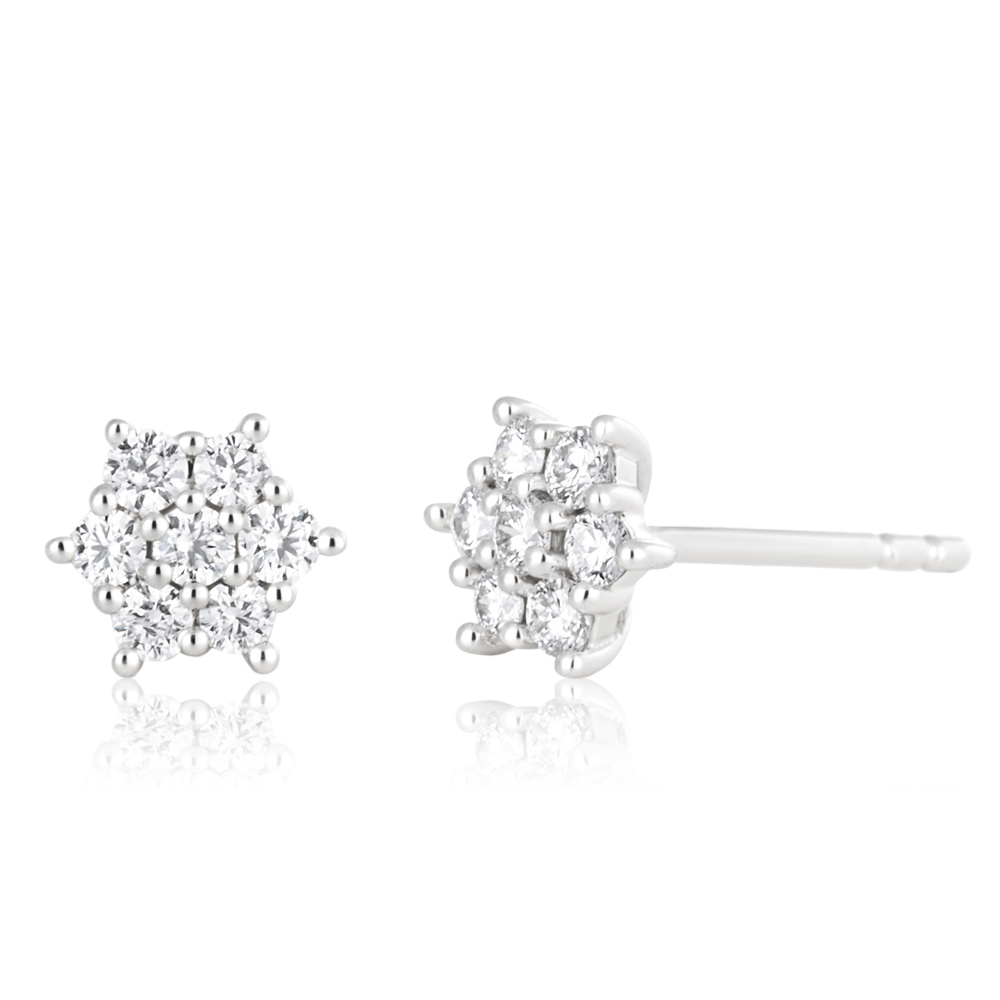 Flawless 9ct White Gold Stud Earrings (TW=1/4carat)