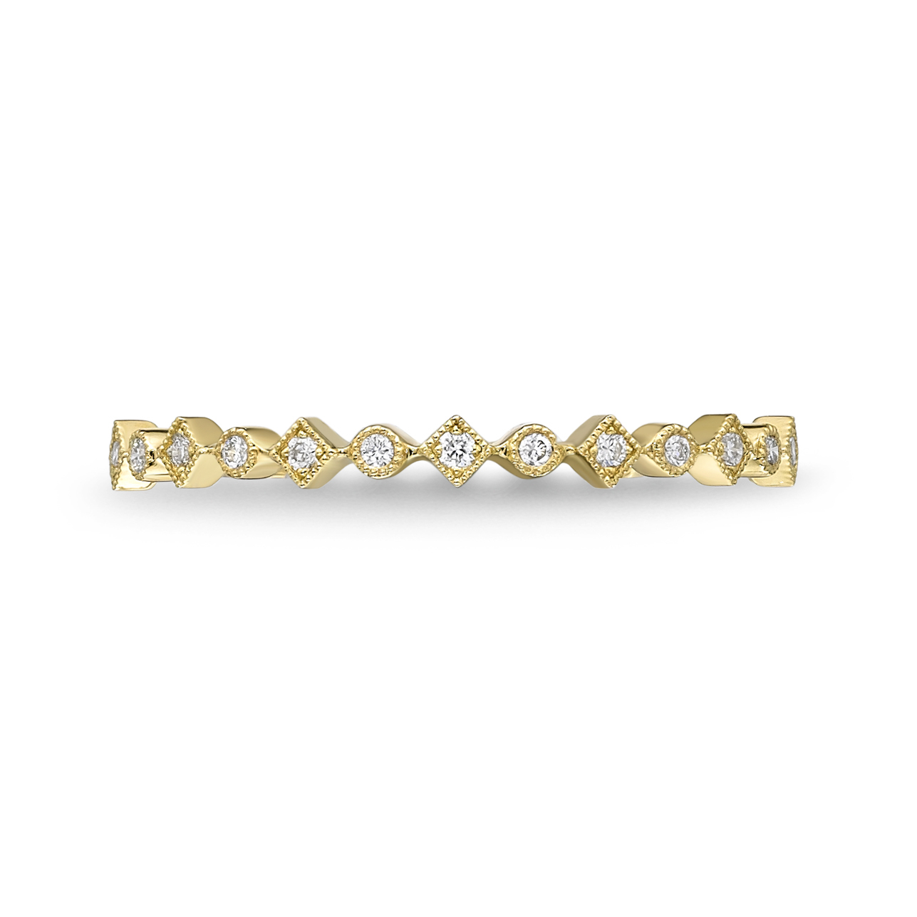 Memoire 18ct Yellow Gold Vintage Square On Point & Round Stack Ring with 15 Diamonds