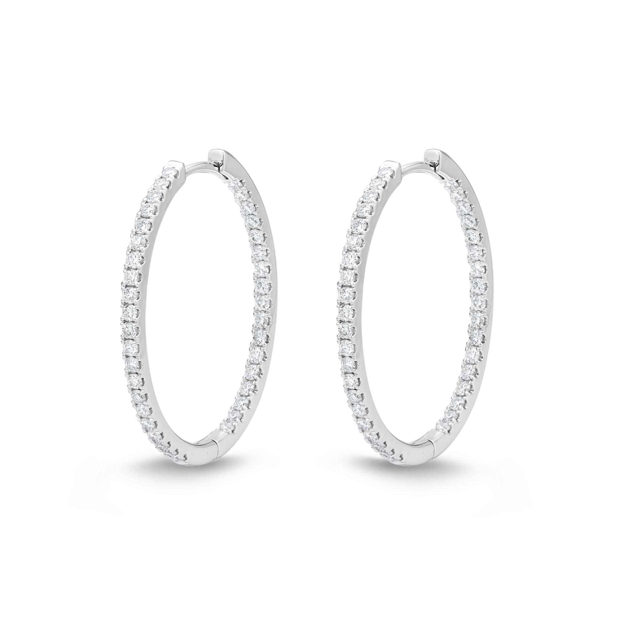 Memoire 18ct White Gold 0.70 Carat Diamond Classic Oval Hoop Earrings 19X23mm