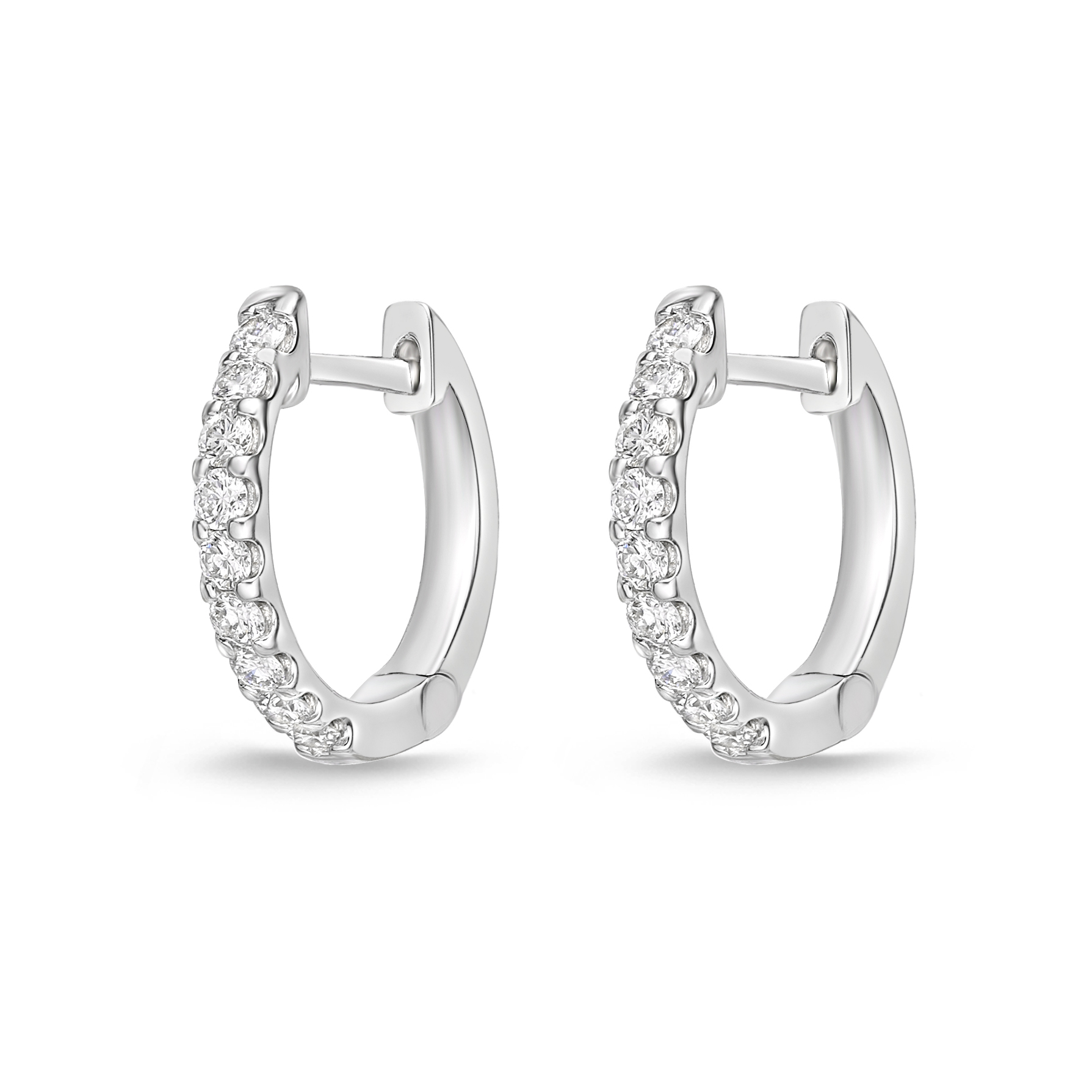 Memoire 18ct White Gold 1/4 Carat Diamond Huggies 12x12mm