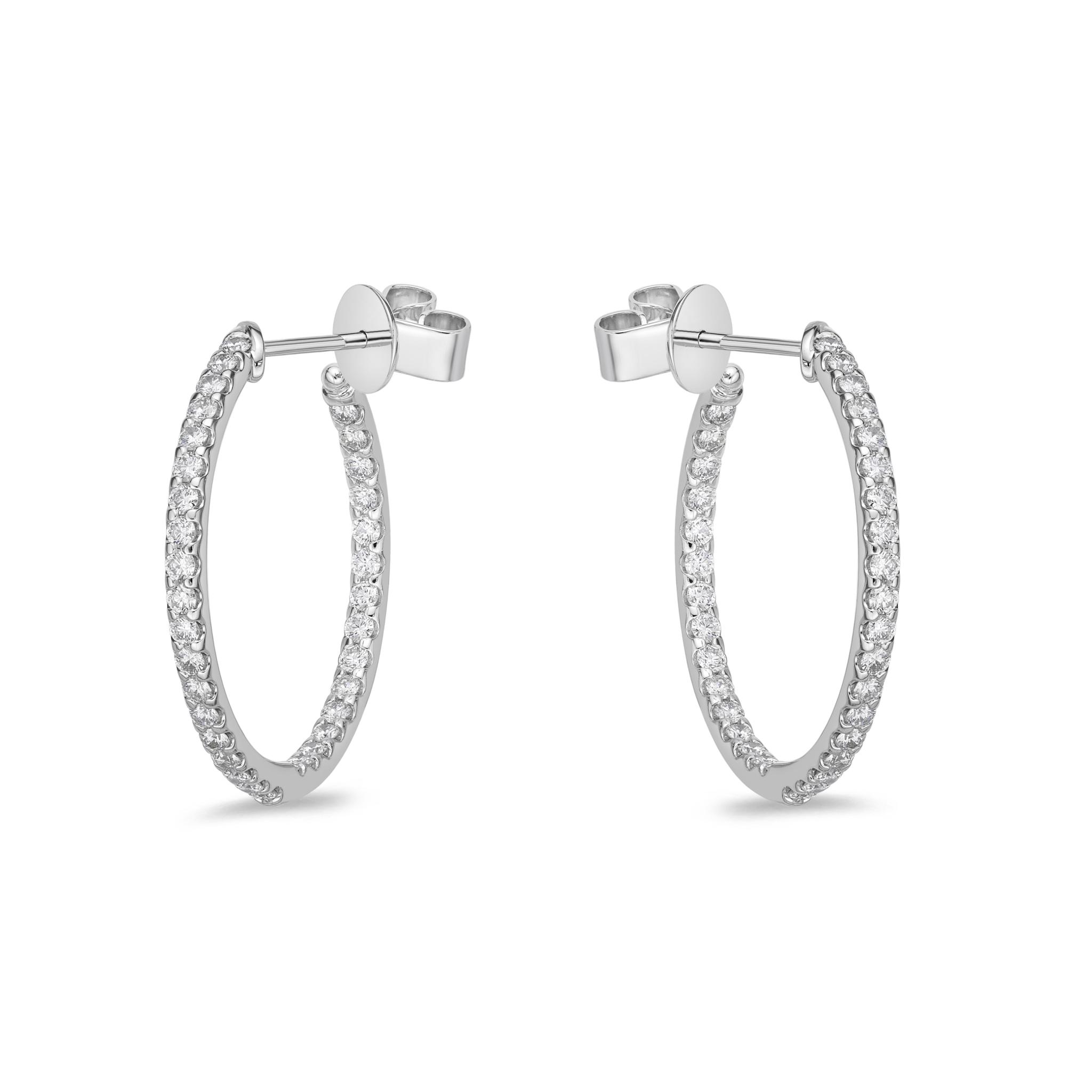 Memoire 18ct White Gold 1 Carat Diamond Odessa Hoop Earrings 24x24mm