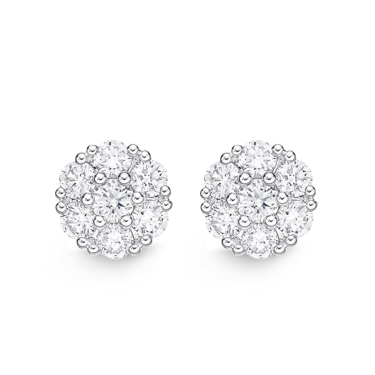 Memoire 18ct White Gold 1 Carat Diamond Floral Style Stud Earrings
