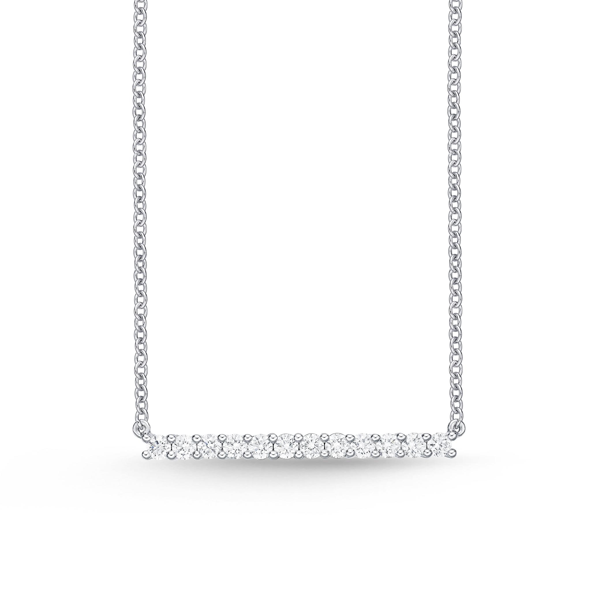 Memoire 18ct White Gold 0.30 Carat Diamond Horizontal Bar Necklace 45cm