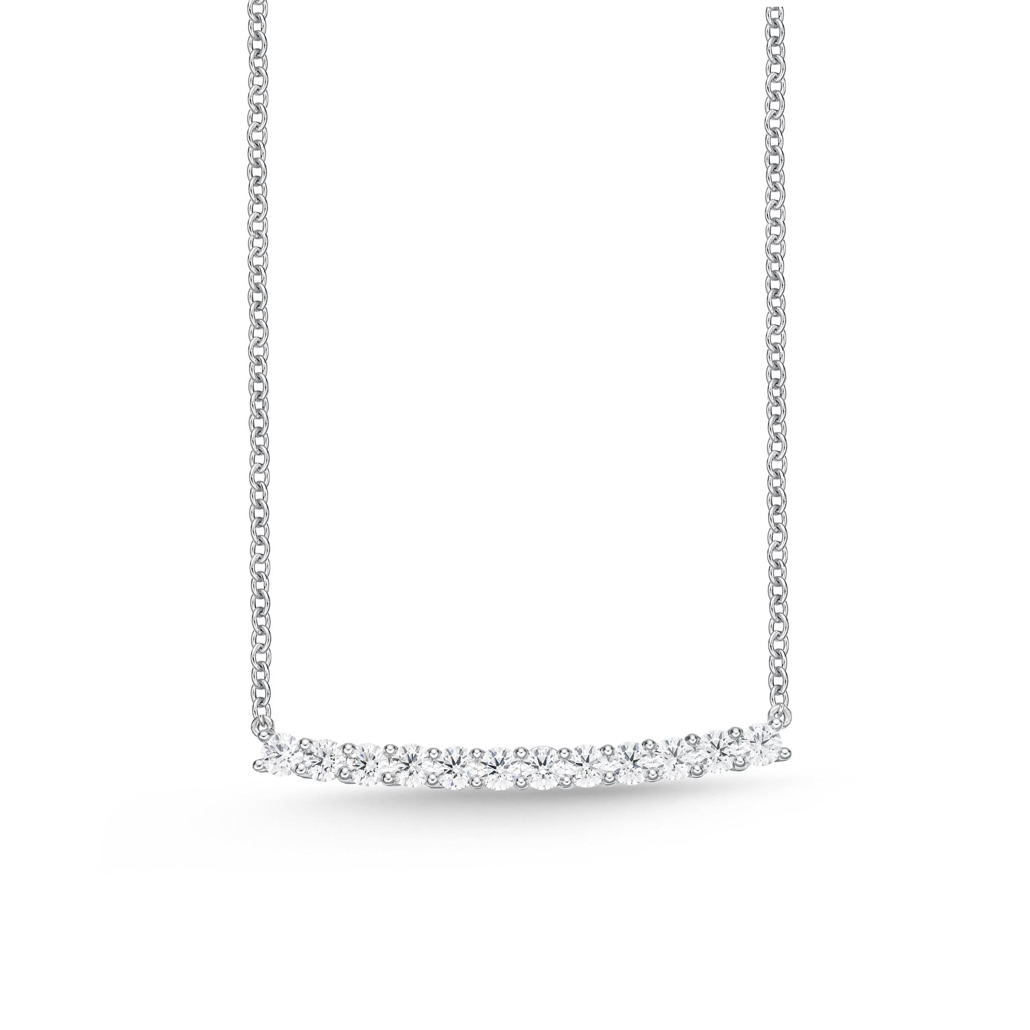 Memoire 18ct White Gold 1 Carat Diamond Horizontal Bar Necklace 45cm
