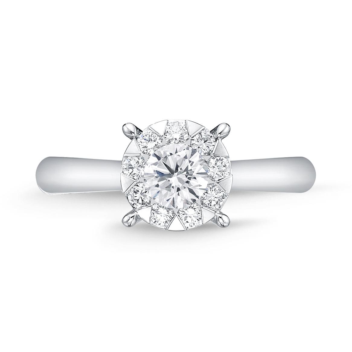 Memoire 18ct White Gold 0.60 Carat Diamond Bouquet Solitaire Ring
