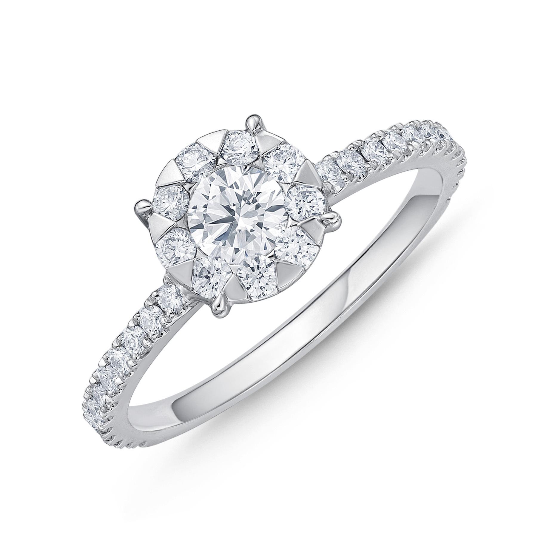 Memoire 18ct White Gold 0.70 Carat Diamond Bouquet Halo Solitaire Ring