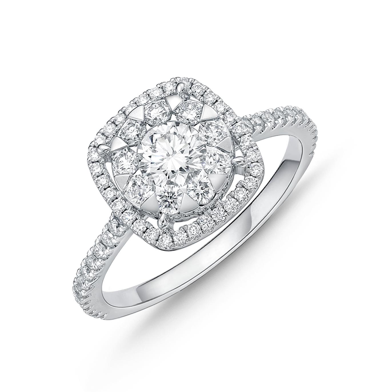 Memoire 18ct White Gold 3/4 Carat Diamond Bouquet Cushion Halo Solitaire Ring