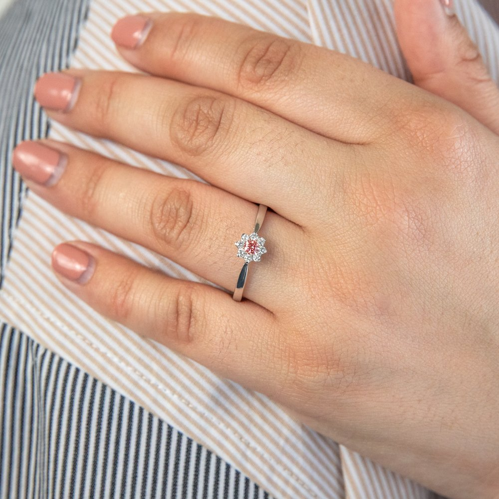 Luminesce Lab Grown Pink & White 1/4 Carat Diamond Ring set in a 9ct White Gold
