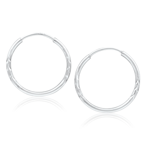9ct Gorgeous White Gold Hoop Earrings