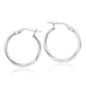9ct White Gold Hoop Earrings in 15 mm with twist