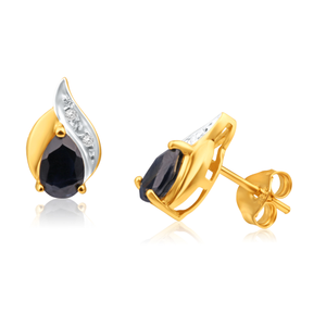 9ct Yellow Gold Natural Sapphire and Diamond Flame Stud Earrings