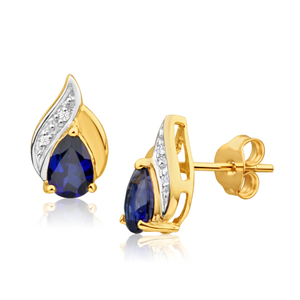 9ct Yellow Gold Created Blue Sapphire + Diamond Stud Earrings