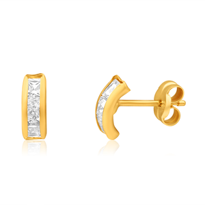 9ct Yellow Gold Cubic Zirconia 6 Stone Stud Earrings