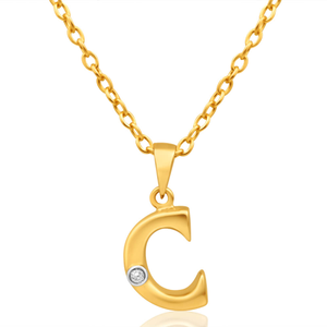 9ct Yellow Gold Pendant Initial C set with diamond