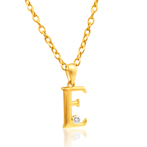 9ct Yellow Gold Pendant Initial E set with diamond