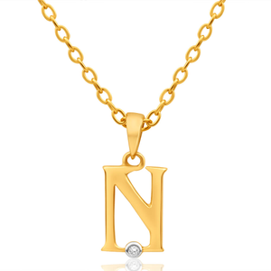 9ct Yellow Gold Pendant Initial N set with diamond