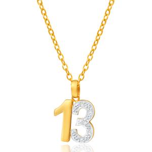 9ct Yellow Gold 13 Diamond Pendant