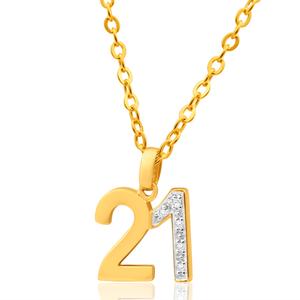 9ct Yellow Gold 21 Diamond Pendant
