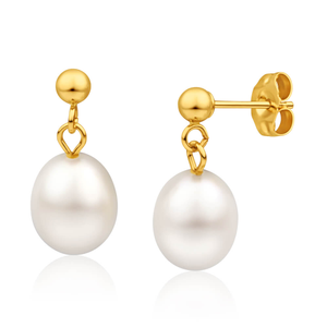 14ct Yellow Gold 7mm White Freshwater Pearl Drop Stud Earrings