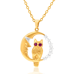 9ct Yellow Gold Ruby Set Owl & Moon Pendant