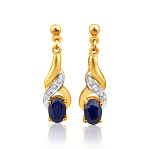9ct Alluring Yellow Gold Diamond + Natural Sapphire Drop Earrings