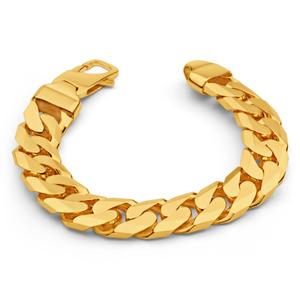 9ct Yellow SOLID Gold Heavy Curb 23cm Bracelet 550 Gauge