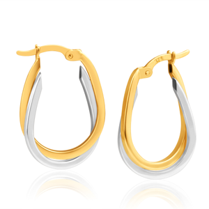 9ct Superb Yellow Gold & White Gold Hoop Earrings