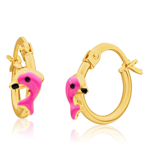 9ct Yellow Gold Hoop Dolphin Earrings