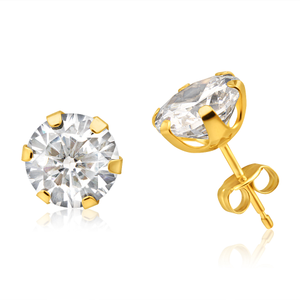 9ct Yellow Gold Cubic Zirconia 8mm 6 Claw Stud Earrings