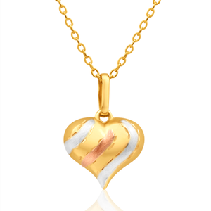 9ct Yellow Gold, White Gold & Rose Gold Heart Pendant