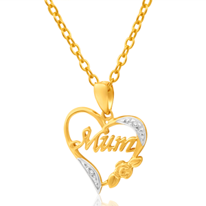 9ct Yellow Gold Mum Diamond Pendant