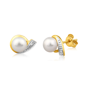 9ct Dazzling Yellow Gold Diamond + Pearl Stud Earrings