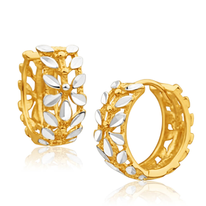 9ct Yellow Gold Hoop Filigree Earrings