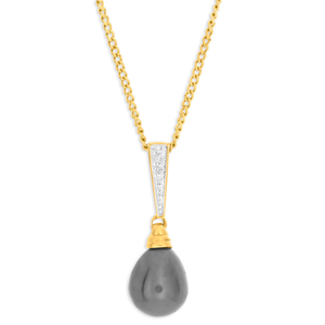 9ct Yellow Gold Black Freshwater Pearl Pendant