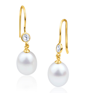 9ct Alluring Yellow Gold Freshwater Pearl and Cubic Zirconia Drop Earrings