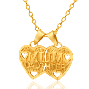 9ct Yellow Gold Mum Daughter Pendant